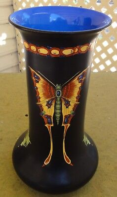 "Exceptional & Rare Crown Ducal Art Deco 9"" Vase. Butterflies Plus.  Prefect."