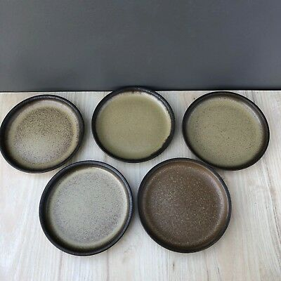 Denby ROMANY BROWN SET OF FIVE (5) Bread & Butter Plates England - EXCELLENT!
