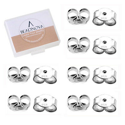 925 STERLING SILVER BUTTERFLY EARRING BACKS STOPPERS FOR REPLACEMENT (12pcs)