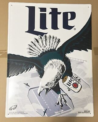 "Miller Lite Philadelphia Eagles NFL Metal Beer Sign 24x18"" - New RARE!"