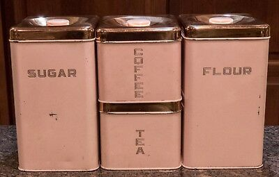 Vintage Mid Century Lincoln Beautyware 4 Piece Pink Canister Set w/ Copper Lids