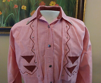 Vintage Roper Western Shirt Womens Size M Salmon Color Metal Buttons Made in USA