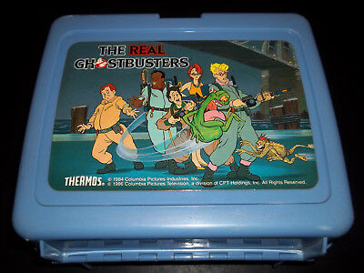 Vintage The Real Ghostbusters Blue Plastic Lunch Box with Thermos 1986