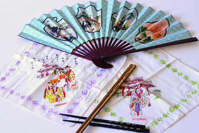 Okinawa Fan, 2 hankies, 2 Chop Sticks - Collectables - unused