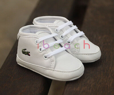 Infant Baby Boy Girl White Trainers Crib Shoes First Step Shoes Newborn to 18 M