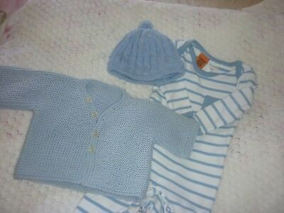 NEW BABY BOY HAND KNITTED CARDI,hat and romper etc  BOUNDLE 0-3 MONTH OLD