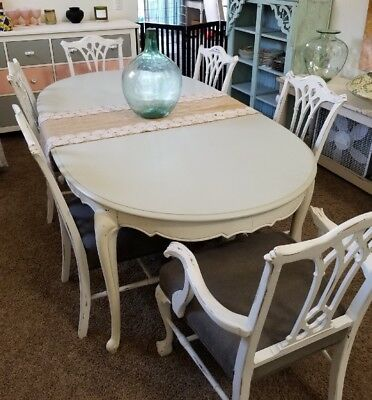 French Country Farm House Vintage Dining Table & Six Chairs