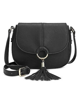 INC International Concepts Emerson Tasseled Metallic Ring Saddle Bag Black NEW