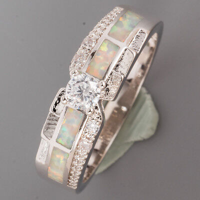 4mm Round Moissanite White Fire Opal Inlay Silver Band Ring US Size 10