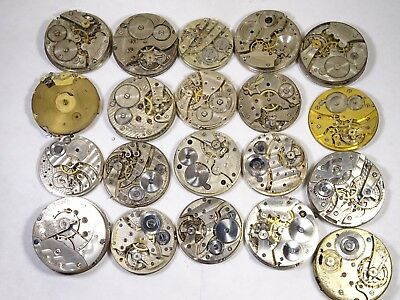 Large Lot of 51 Antique Manual Wind Pocket Watch Movements Swiss Made for Parts