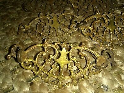 6 Vintage Antique Filigree Victorian Brass Ornate Drawer Pulls