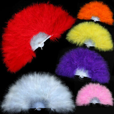 9Colours Feather Fan Folding Hand Costume Wedding Showgirl Dance Fancy Party NEW