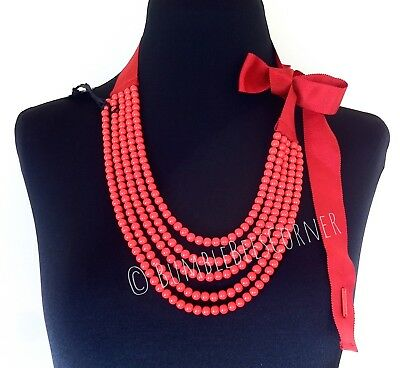 BIMBA Y LOLA Coral-Red MULTI-LAYERED Resin Beads RIBBON BOW Beaded Necklace NWT