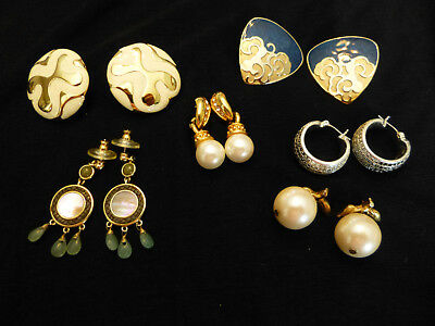 Vintage estate lot of beautiful earrings 6 pair signed Avon Monet and RA