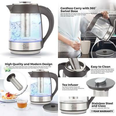 Electric Tea Kettle, Cordless Glass Pot 1.8 Liter, Stainless Steel Hot Water Hea