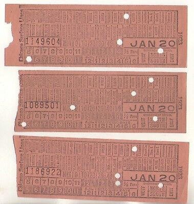 Lot Of 3 ~ 1923 Chicago Surface Lines Railway Street Car Trolley Tickets