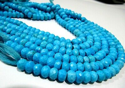 Rare Blue Turquoise Magnesite Rondelle Faceted Beads 6mm to 7mm, Strand 8 inches
