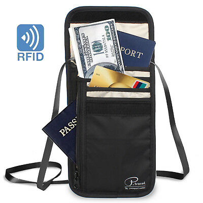 Neck Pouch Passport Holders with RFID Blocking Waterproof Travel Security Bag