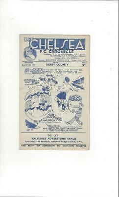 Chelsea v Derby County Football Programme 1946/47