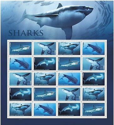 Shark Sheet of 20 Forever USPS First Class one Ounce Postage Stamps...
