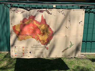 Antique Map of Australia Vegetation - Canvas Backed - Oxford Wall Maps