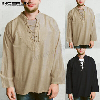 100%Cotton Mens Baggy T Shirt Tee Hippie Shirts Long Sleeve Lace up Yoga Top Tee