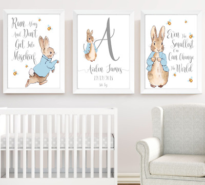 Peter Rabbit Boys Nursery Prints Set Of 3, Kids Print Poster Pictures Room Decor