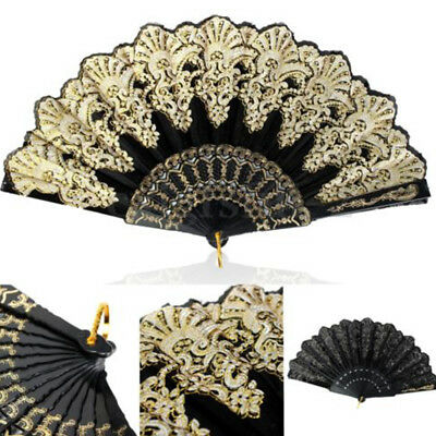 Nice Spanish Style Lace Silk Folding Hand Held Flower Fan Dance Party Wedding