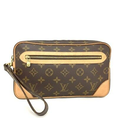 30afd018aed6 100% Auth Louis Vuitton Monogram Marly Dragonne Clutch Hand Bag  c420