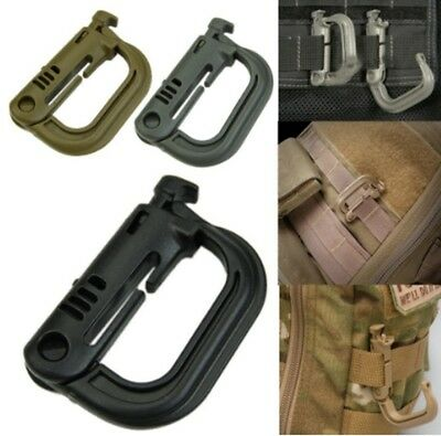 4X Plastic Shackle Carabiner Dring Clip Molle Webbing Backpack Buckle Grimlock