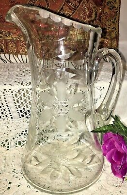 Antique Hughes Hand Blown Wheel Cut Cornflower Crystal Pitcher