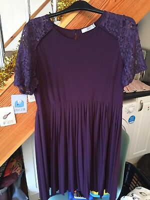ASOS Maternity Dress 14 Plum With Lace Shoulder Detail - Knee Length