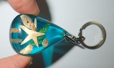 Starfish and 3 Sea Shell Pear Shape Key Ring Clear Blue KHL