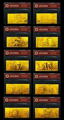 24KT Limited Edition 99.99% Gold Australian Bank Note Set Rare Paper Banknote
