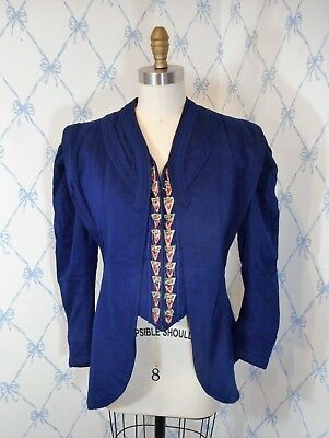 Antique Victorian Edwardian Military Style Blue Wool Detailed Jacket Coat RARE