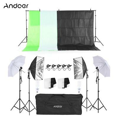 Andoer Photo Studio Photography Lighting Kit Umbrella Softbox Backdrop Stand Set