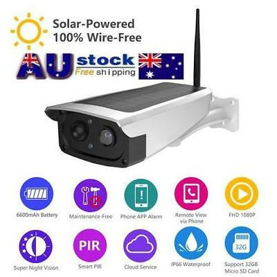 Solar Powered WiFi Wireless 1080P CCTV IP Camera IP66 Home Security Cam PIR 2.4G