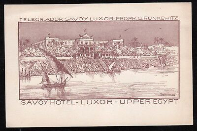 Egypt  1935 Advertising Card From  Luxor Savoy Hotel