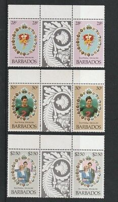 BARBADOS 1981 ROYAL WEDDING SET OF ALL 3 COMMEMORATIVE STAMPS TAB GUTTERS MNH a