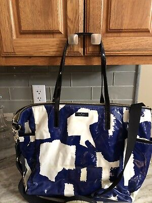 kate spade Leather diaper bag Blue& White Geometric New Defects 19X13 Strap