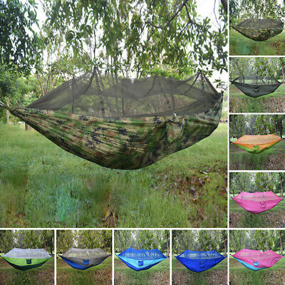 Double Single Outdoor Hammock Swing Camping Mosquito Net Travel Sleep Hang Bed