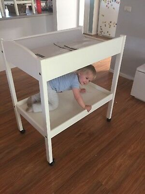 CHANGE TABLE Timber Wooden Changing  baby changer with wheel 2 tiers white