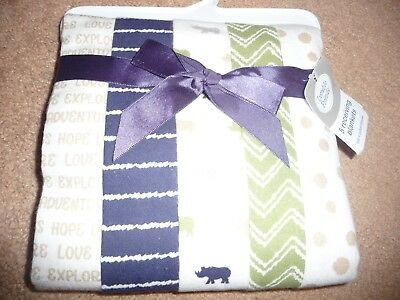 """NEW NWT Luvable Friends 5-Piece Flannel Receiving Blankets rhino 28"""" x28"""""""