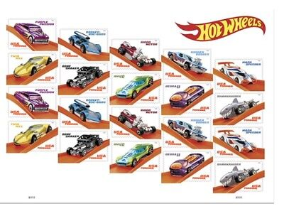 Hot Wheels Sheet of 20 Forever USPS First Class one Ounce Postage Stamps