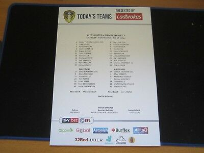2018/19 CHAMPIONSHIP LEEDS UNITED v BIRMINGHAM CITY  TEAM SHEET