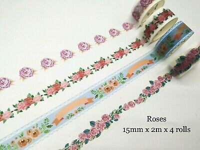 Japan Washi Tape 4 Rolls Roses Greens Flemino Unicorns Oceans