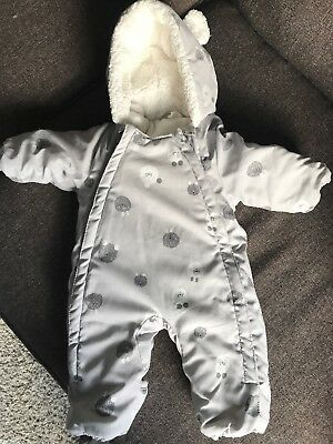 Baby H & M Snow Pram Suit All In One Grey Age Newborn