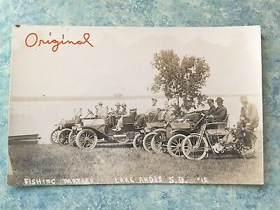LAKE ANDES S.D. RPPC  @1910's HARLEY DAVIDSON MOTORCYCLE with Autos  Unposted