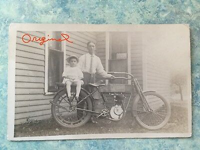 Vintage RPPC  @1910's HARLEY DAVIDSON MOTORCYCLE with owner and child  Unposted
