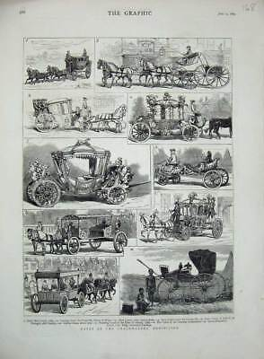 Old Antique Print 1879 Coachmakers Exhibition Mail State Coach Cetewayo 19th